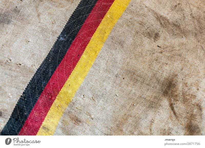 Made in Germany Sign Line German Flag Old Dirty Brown Yellow Red Black Background picture Politics and state Colour photo Exterior shot Close-up Deserted