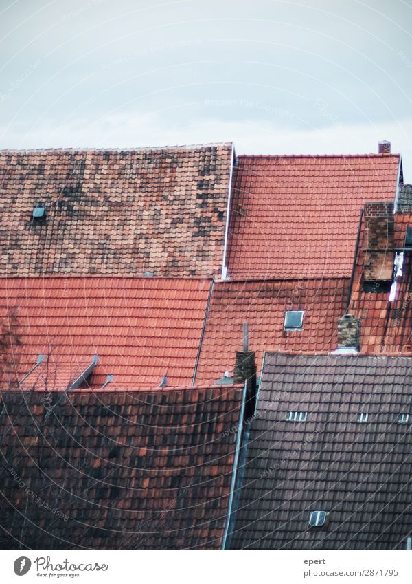 All Thought House (Residential Structure) Roof Chimney Living or residing Old Uniqueness Serene Contact Perspective Calm Transience Brick Pattern Colour photo
