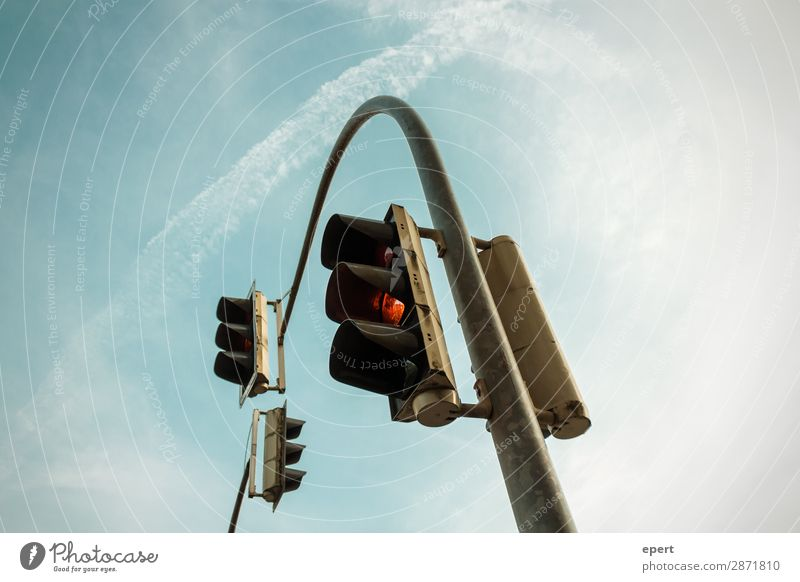 parable Parable Traffic light Road sign Sky flexed Road traffic Perspective