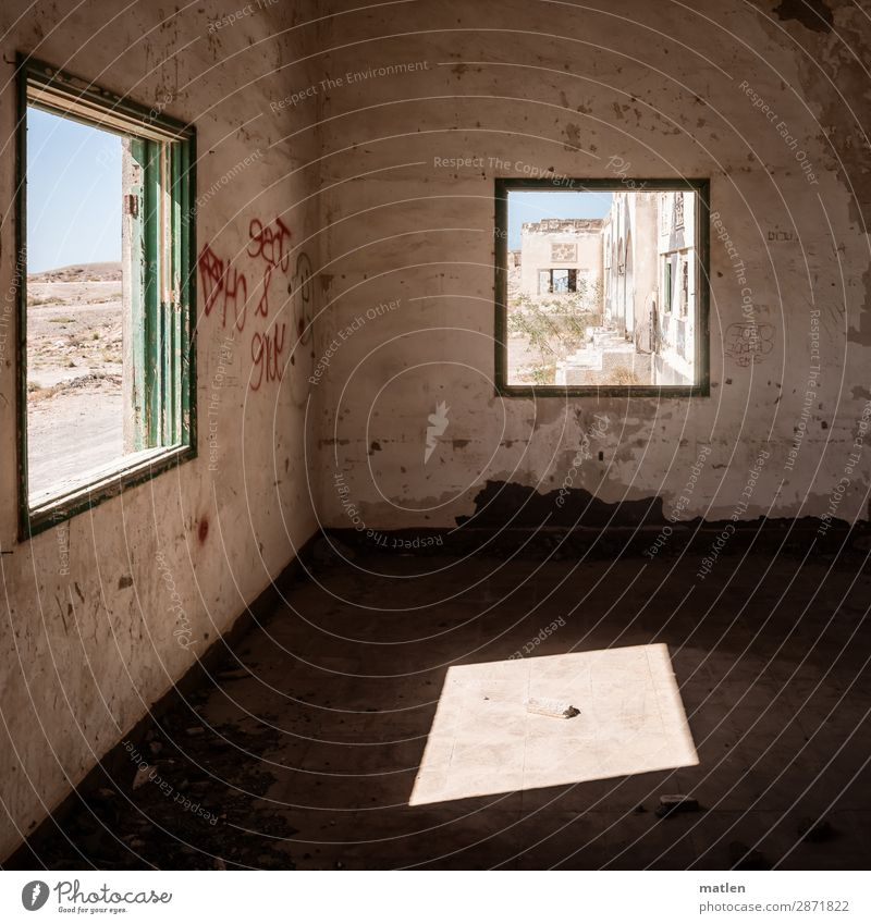 Sky Blue House (Residential Structure) Window Wall (building) Building Wall (barrier) Brown Illuminate Floor covering Desert Sharp-edged Ruin Visual spectacle