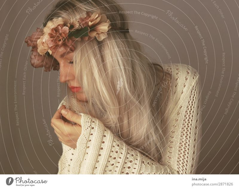 Sensitive Human being Feminine Young woman Youth (Young adults) Woman Adults 1 Fashion Clothing Sweater Accessory Flower wreath Hair and hairstyles Blonde