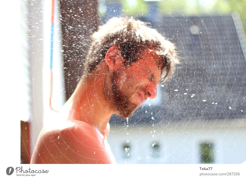 water battle Joy Leisure and hobbies Human being Masculine Young man Youth (Young adults) 1 18 - 30 years Adults Cloudless sky Summer Climate Climate change