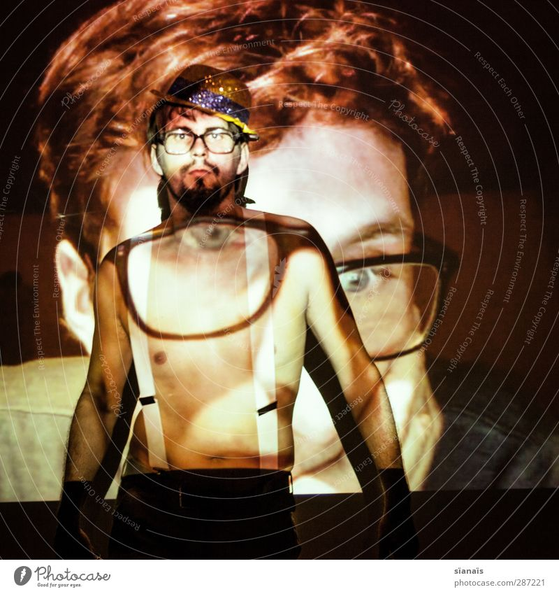 Human being Man Adults Party Background picture Masculine Eyeglasses Shows Hat Expressionless Testing & Control Difference Freak Homosexual Entertainment