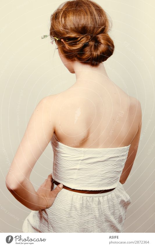 Redhead bride with romantic bun Roll Skin Wedding Human being Feminine Woman Adults Flower Rose Fashion Dress Blonde Red-haired Ornament Simple Retro White