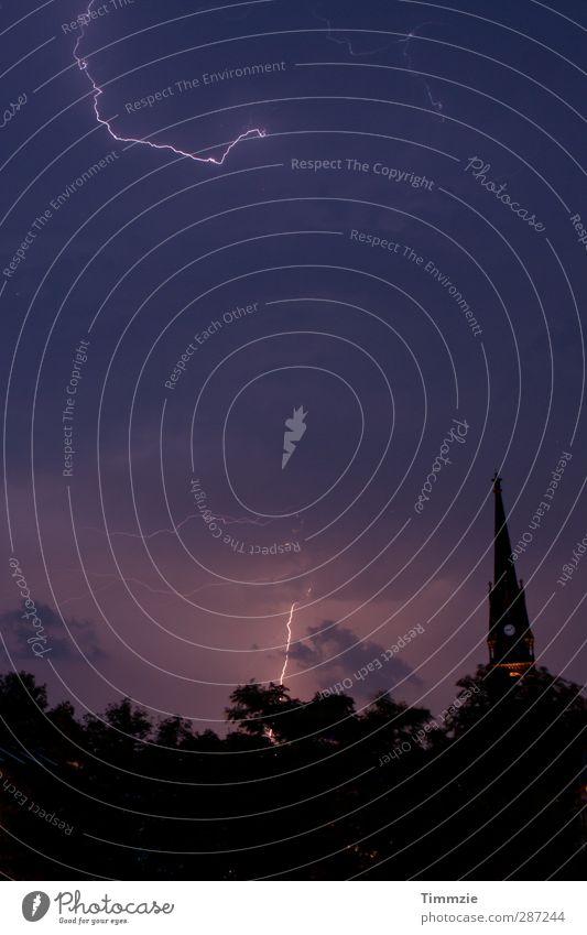 Thunderstorms over Dresden Thunder and lightning Lightning Skyline Church Nature Exterior shot Deserted Night Light (Natural Phenomenon) Long exposure