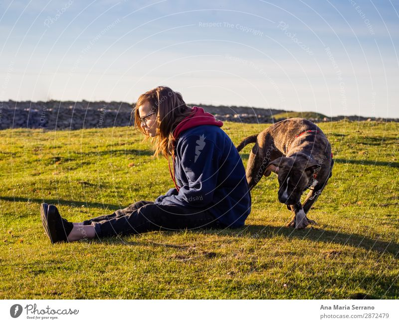 An teenager woman playing with a young dog Playing Freedom Young woman Youth (Young adults) Woman Adults Friendship Nature Landscape Pet Dog Baby animal Love