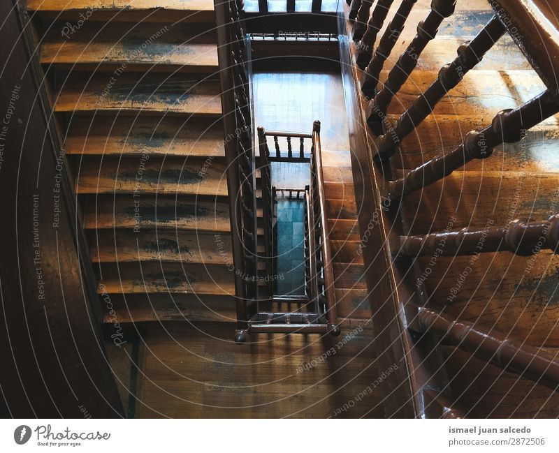 wooden stairs architecture structure Stairs Staircase (Hallway) Wood Steps Architecture Structures and shapes Construction Interior shot Old Abandon Upper