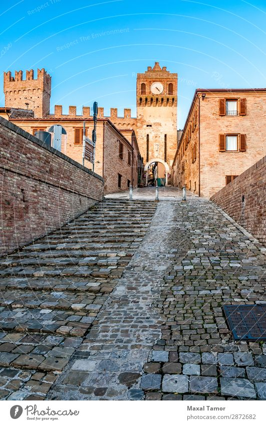 The gate of Gradara Tourism Landscape Castle Building Monument Stone Old Historic Europe Italy Marche Ancient brick bulwark entrance Way out fort fortress