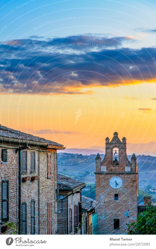 Sunset Over Gradara Tourism Clock Landscape Castle Building Monument Stone Old Historic Europe Italy Marche Ancient bell brick fort fortress heritage historical