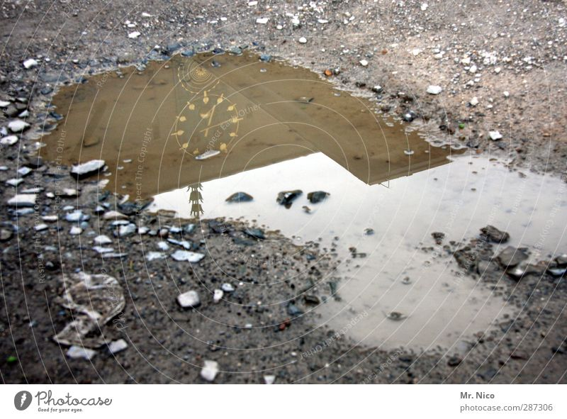happy birthday, photocase   everything has its time Environment Earth Climate Bad weather Time Puddle Clock Building Cold Wet Gray Pavement Reflection