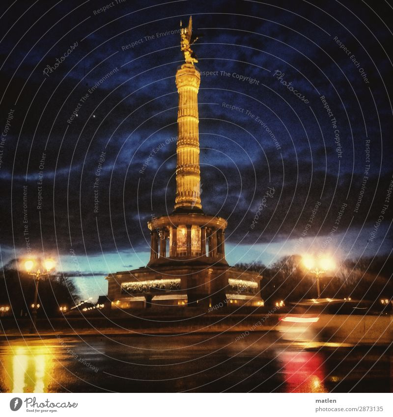 victory column Clouds Storm clouds Night sky Sunrise Sunset Spring Bad weather Rain Town Capital city Deserted Places Manmade structures Tourist Attraction