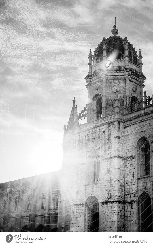 Sun in black and white Sky Clouds Sunlight Beautiful weather Lisbon Belém Portugal Old town Church Wall (barrier) Wall (building) Facade Religion and faith