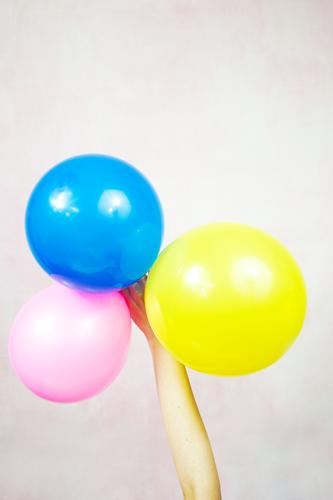 Hand holding ballooons Woman Child Colour Adults Funny Feasts & Celebrations Art Party Design Decoration Birthday Infancy Creativity Arm Idea