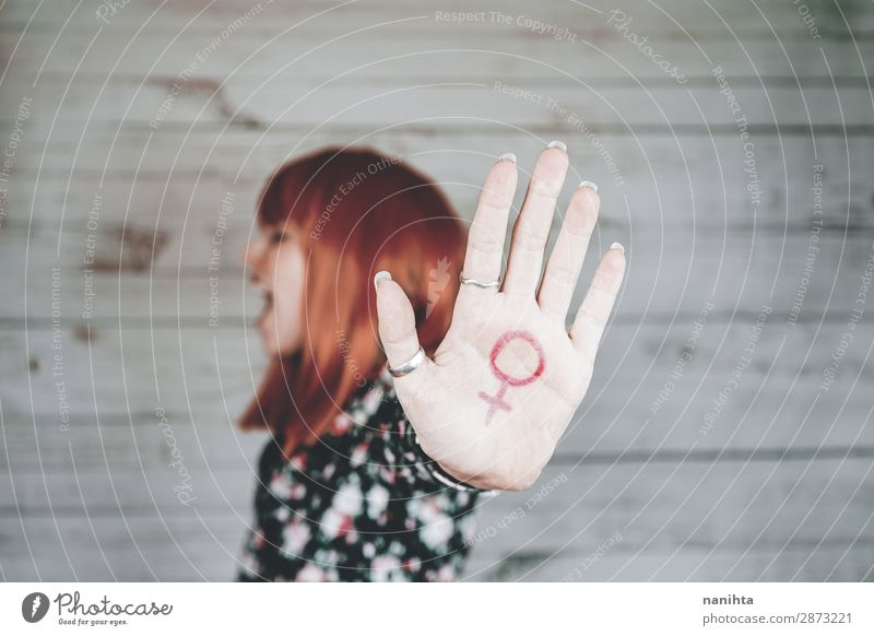 Young feminist with a female sign in her hand Lifestyle Style Design Human being Feminine Young woman Youth (Young adults) Woman Adults Arm Hand 1 18 - 30 years