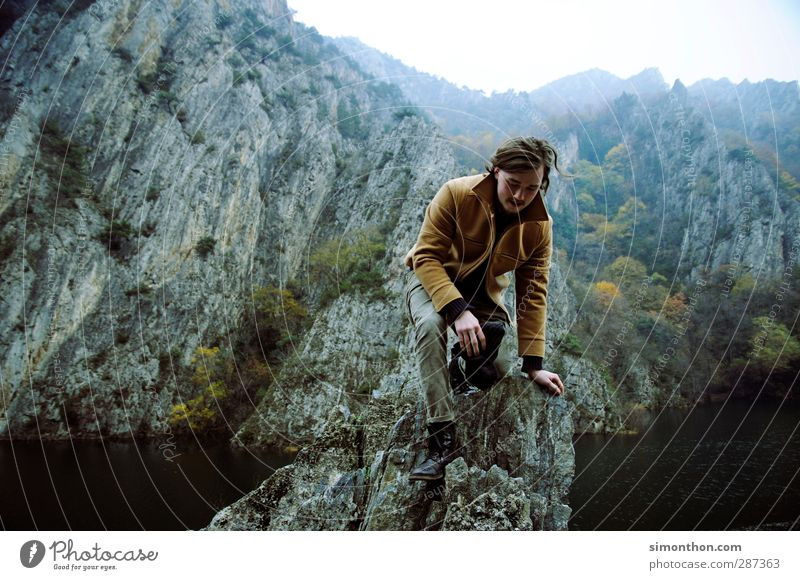 travel Vacation & Travel Trip Adventure Far-off places Freedom Expedition Mountain Hiking Masculine 1 Human being Environment Nature Landscape Autumn Rock
