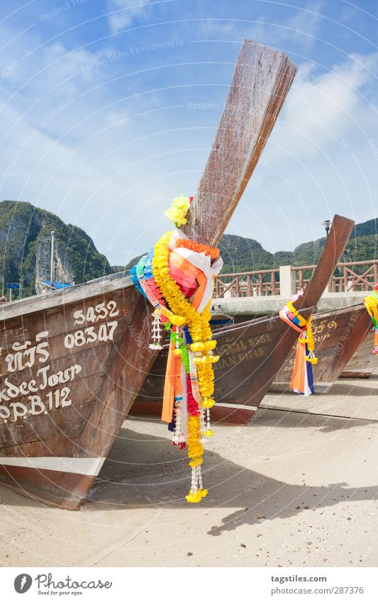 Thailand - Ko Phi Phi Don - Krabi Watercraft Longboat Jewellery Adorned Tradition Religion and faith Asia Flower Phi Phi island Andaman Sea Vacation & Travel