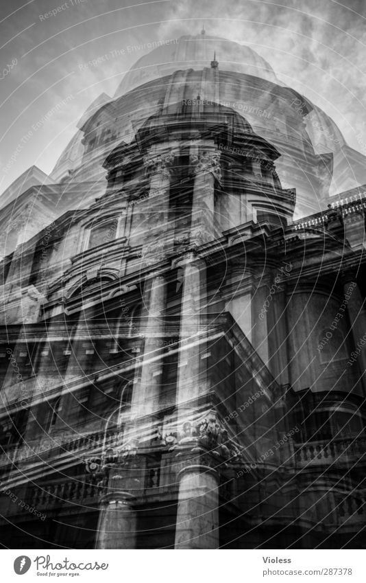 Happy Birthday Photocase party till the walls shake. Capital city Port City Old town Castle Budapest Double exposure Black & white photo Exterior shot