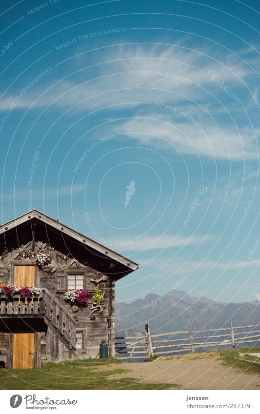 Sky Blue Vacation & Travel Summer Sun Clouds House (Residential Structure) Mountain Building Flat (apartment) Hiking Tourism Living or residing Alps Peak Fence