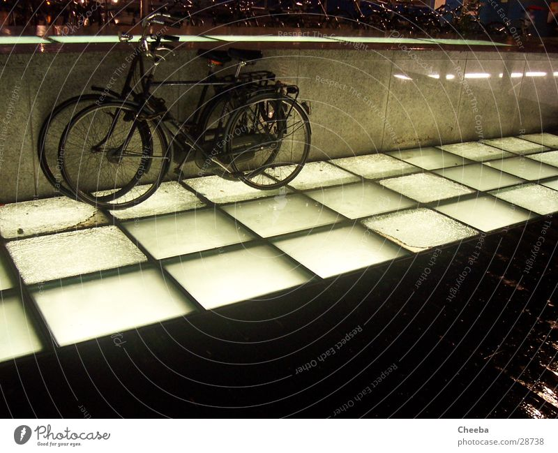 Wheels II Bicycle Lamp Amsterdam Netherlands Night Dark Transport Floor covering Rain