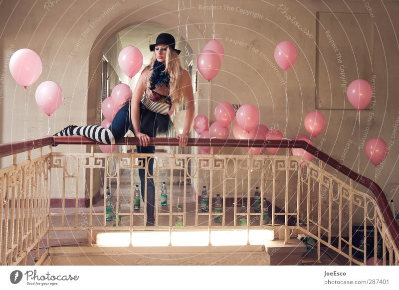 Human being Woman Beautiful Adults Sadness Style Feasts & Celebrations Party Fashion Exceptional Blonde Elegant Lifestyle Esthetic Balloon Uniqueness