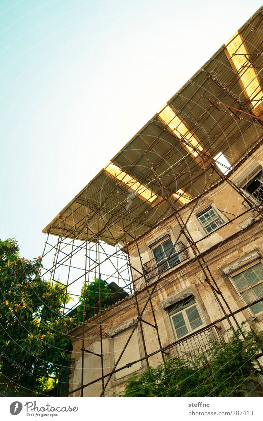 canopy Lisbon Portugal Old town House (Residential Structure) Facade Esthetic Scaffolding Build Redecorate restore Sunlight Summer Colour photo Exterior shot