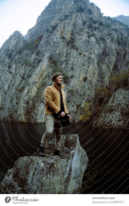Human being Nature Youth (Young adults) Vacation & Travel Landscape Far-off places 18 - 30 years Adults Mountain Autumn Coast Freedom Lake Rock Masculine Fog
