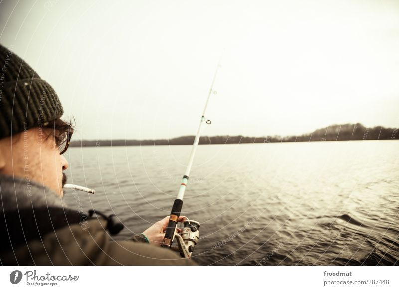 thanks for the fish Leisure and hobbies Fishing (Angle) Human being Masculine Young man Youth (Young adults) Man Adults 1 Water Sky Autumn Winter Bad weather