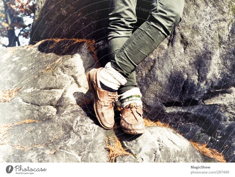 wanderlust Trip Adventure Freedom Expedition Mountain Hiking Legs 1 Human being Nature Landscape Sunlight Summer Autumn Tree Rock Alps Pants Stockings