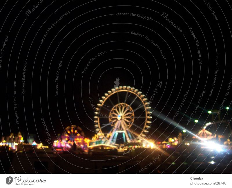 Fair panorama Ferris wheel Night Light Multicoloured Dark Attraction Roller coaster Fairs & Carnivals