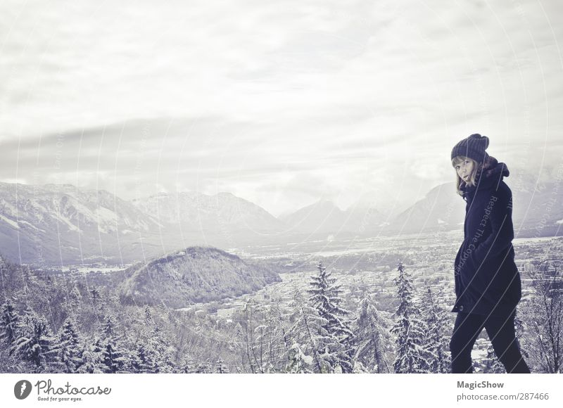 Human being Woman Nature Blue Beautiful White Loneliness Winter Landscape Black Adults Forest Far-off places Mountain Cold Sadness