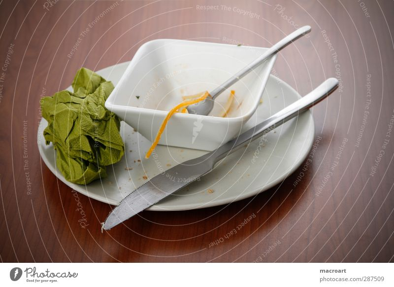 plate and bowl with food leftovers Plate Bowl Leftovers Remainder Dish Eating Knives Fork Napkin Green Cloth Spoon Cheese Wooden table Brown Knot Food Nutrition