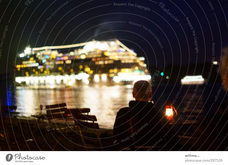 Human being Man Water Beach Adults Hamburg Observe River Harbour River bank Cruise Cruise liner Passenger ship Garden chair Inland navigation Storm laterne