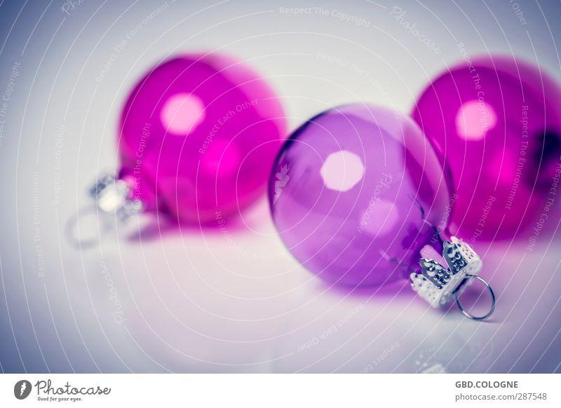 Christmas & Advent Pink Decoration Modern Glass Round Kitsch Violet Sphere Transparent Christmas tree Christmas decoration Fragile December Fastening