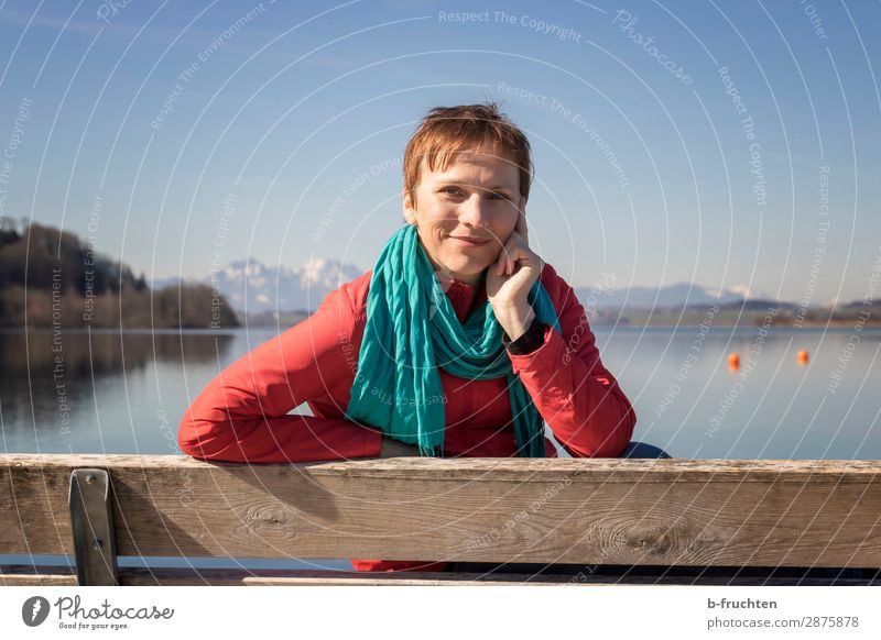 Beautiful spring day at the lake Contentment Relaxation Calm Woman Adults Face 1 Human being 30 - 45 years Horizon Spring Beautiful weather Alps Mountain