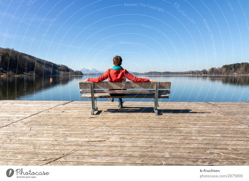 Spring day, recreation at the lake Well-being Relaxation Calm Woman Adults Arm 1 Human being 30 - 45 years Autumn Beautiful weather Lakeside Looking Sit Wait