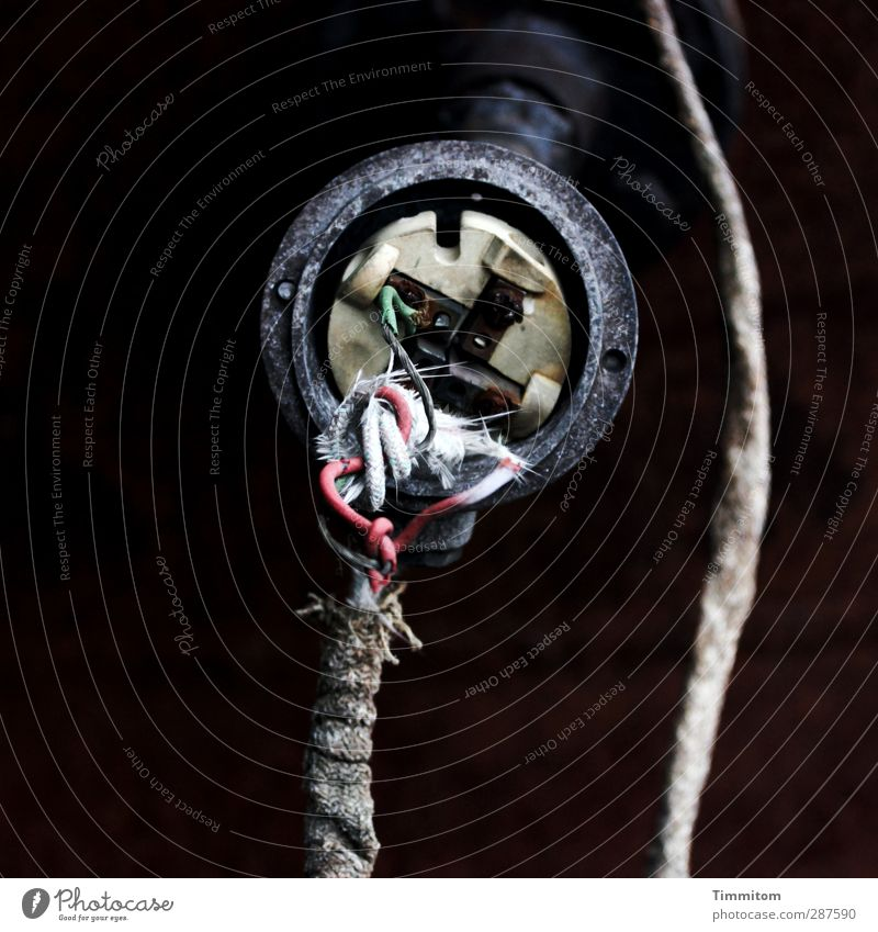 Where are you? Cable Technology Hang Wait Esthetic Simple Broken Green Red Black White Electricity Connect Worn out Old Colour photo Subdued colour