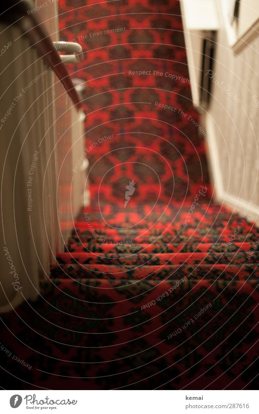 Red Calm Dark Above Interior design Style Flat (apartment) Stairs Tourism Empty Living or residing Under Banister Staircase (Hallway) Door handle Carpet