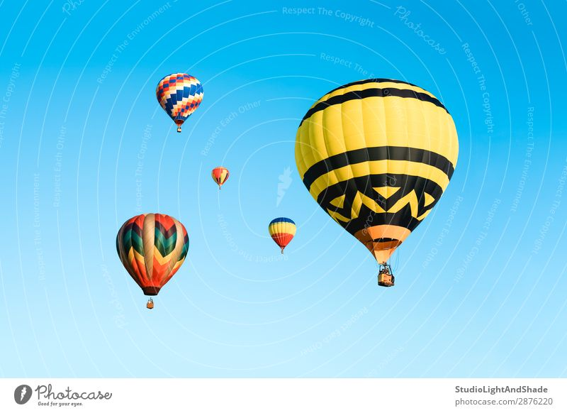 Colorful hot air balloons in the blue sky Joy Leisure and hobbies Vacation & Travel Adventure Freedom Sports Sky Transport Aircraft Hot Air Balloon Flying