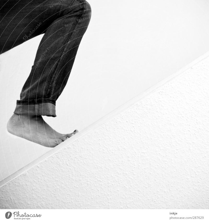 Human being White Wall (building) Sports Emotions Movement Lanes & trails Above Wall (barrier) Legs Feet Going Stairs Stand Beginning Simple