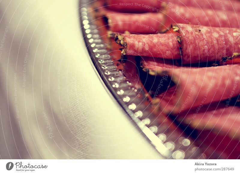Green White Red Metal Lie Food Nutrition Thin Plate Dinner Silver Sausage Buffet Brunch Salami