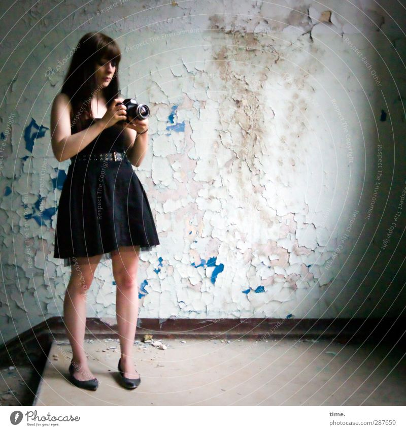 Human being Beautiful Wall (building) Wall (barrier) Stairs Photography Action Stand Observe Dress Camera Serene Concentrate Brunette Information Technology