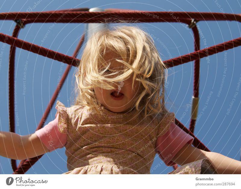 climb Feminine Child Girl Hair and hairstyles 1 Human being 3 - 8 years Infancy Blue Climbing Playground Colour photo Exterior shot Upward