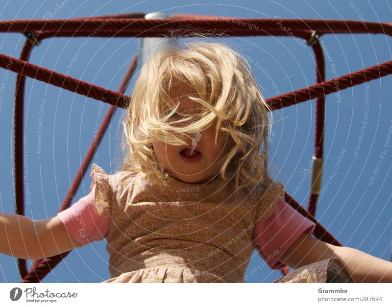 Human being Child Blue Girl Feminine Hair and hairstyles Infancy Climbing Playground 3 - 8 years