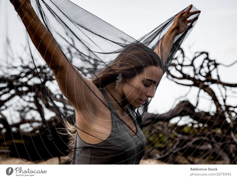 Woman posing on twigs of dry trees Ballerina Posture Tree Twig Mysterious reborn murk Wear Wood Branch stretched out Legs Youth (Young adults) Gray Dry