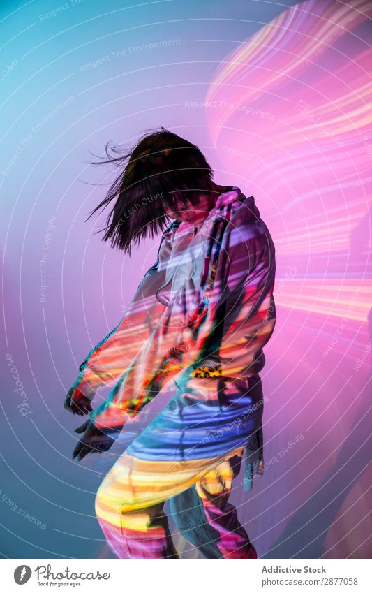 Female dancer under bright light Dancer Woman Movement Light Youth (Young adults) Modern Style Action Energy Power Contemporary Hip & trendy pose Bright