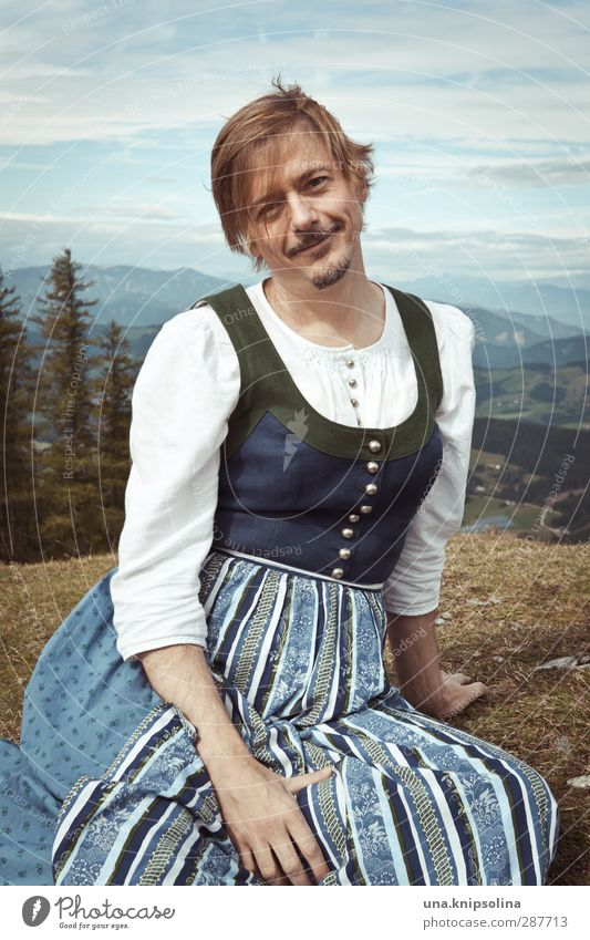 the dairymaid from königssee Lifestyle Beautiful Tourism Mountain Hiking Man Adults 1 Human being 30 - 45 years Nature Landscape Tree Meadow Alps Fashion Dress