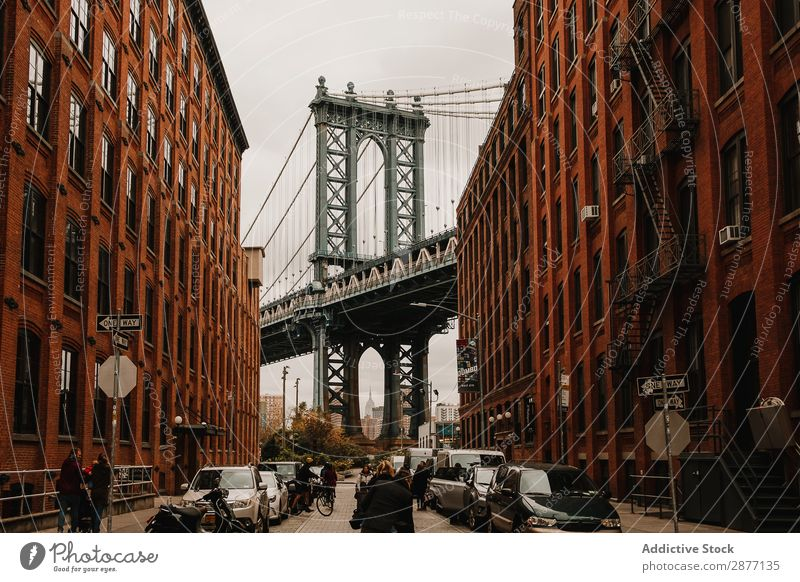 Street with red buildings and bridge Skyline Bridge Building New York Old Panorama (Format) City america USA Architecture Town Vantage point scenery tranquil