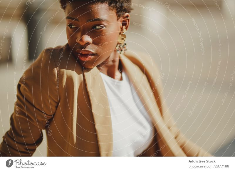 Stylish black woman on street Woman Street Black African-American Elegant Style Self-confident City Earring Youth (Young adults) Charming Attractive