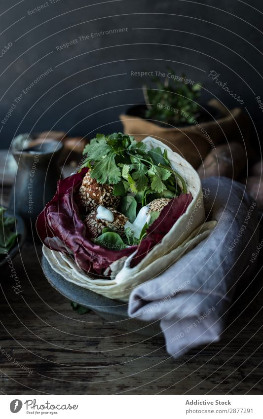 Fresh sweet potato falafel Vegetable Parsley Cabbage Plate Dish Board Wood bruschetta pita Snack Herbs and spices Food Lunch Meal Eating Gourmet Delicious