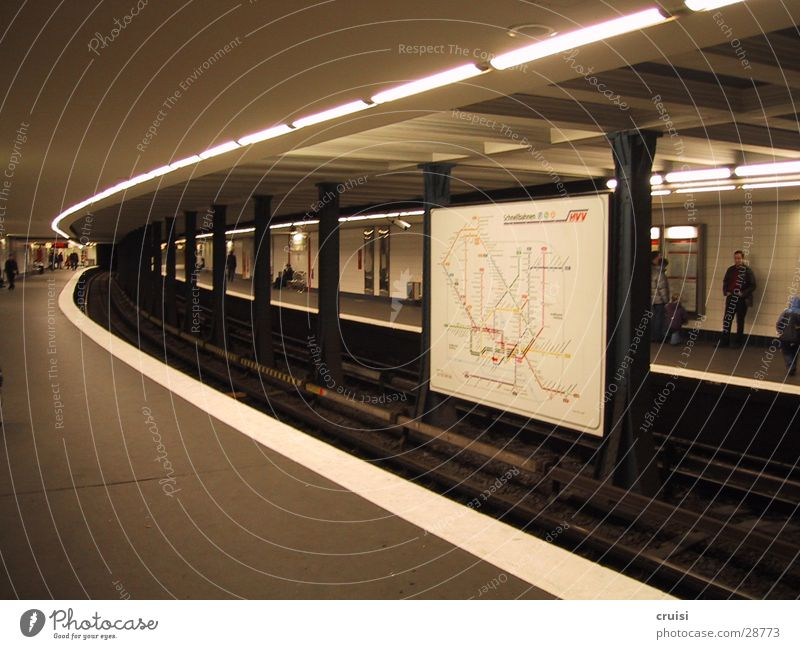 White Dark Gray Hamburg Transport Railroad Railroad tracks Station Tunnel Underground Curve Commuter trains Underground